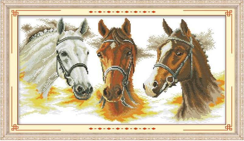 Вышивка амазонка с лошадью 90