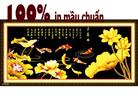 Hoa sen vàng (phúc ngư tụ tài)-tranh thêu in mầu-tranh thêu phong thuỷ