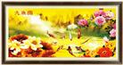 CỬU NGƯ TỤ TÀI (Tranh thêu in màu - Tranh thêu phong thủy)