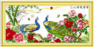 Hoa nở phú quý - Khổng tước cát tường (Tranh thêu chữ thập chim công in màu)