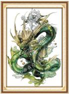 RỒNG XANH (Tranh thêu chữ thập con rồng in màu)