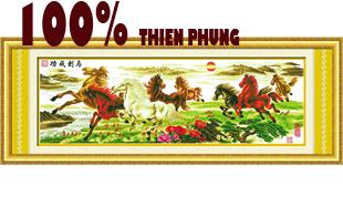 MÃ ĐÁO THÀNH CÔNG (KHỔ LỚN) (Tranh thêu ngựa - mã đáo in màu)