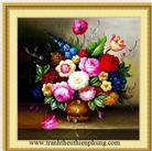 Bình hoa hồng sơn dầu (tranh thêu chũ thập hoa in mầu)