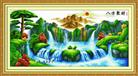 Tranh thêu chữ thập phong cảnh: Bát phương tụ tài 4 - Bản lớn