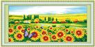 Cánh đồng hoa hướng dương (Tranh thêu chữ thập phong cảnh in màu)