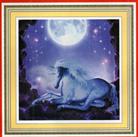 KỲ LÂN TRẮNG (Tranh thêu chữ thập 3D ngựa in màu)