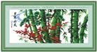 HOA PHONG TAM TRÚC VINH HOA (Tranh thêu chữ thập phong cảnh in màu)