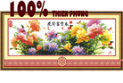 Tranh thêu chữ thập các loài hoa: Mùa xuân hoa nở phú quý