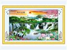 Nguồn tài cuồn cuộn - Tranh thêu chữ thập phong cảnh in màu