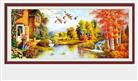 VƯỜN NHÀ THƠ MỘNG (Tranh thêu chữ thập phong cảnh in màu)