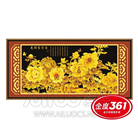 Tranh thêu chữ thập hoa mẫu đơn vàng kim sắc