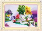 Ngôi nhà nhỏ hạnh phúc (Tranh thêu ruy băng phong cảnh)