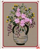 ĐỢI CHỜ LẶNG LẼ (Tranh thêu ruy băng các loại hoa)