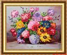 VUI NHỘN (Tranh thêu ruy băng các loại hoa)