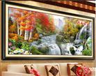 Tranh thêu chữ thập phong cảnh Mùa thu may mắn