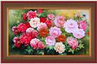 MẪU ĐƠN KHOE SẮC (Tranh thêu chữ thập hoa mẫu đơn in màu)