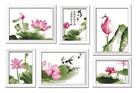 SEN BỘ 6 BỨC (Tranh thêu chữ thập hoa sen in màu)