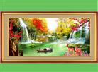 SINH TÀI HỮU ĐẠO (Tranh thêu chữ thập phong cảnh in màu)