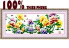 Phú quý thiên hương (Mùa xuân hoa nở) tranh thêu in màu - tranh thêu hoa mẫu đơn