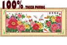 Hoa nở phú quý (tấn lộc) tranh thêu in màu - tranh thêu hoa mẫu đơn - tranh thêu phong thủy