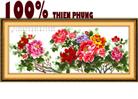 Quyến rũ (phú gia tấn lộc) tranh thêu in màu - tranh thêu hoa mẫu đơn