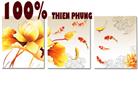 Hồng vận đương đầu (cửu ngư đồ) - tranh thêu in mầu - tranh thêu hoa