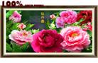 Hoa mẫu đơn khoe sắc  - Phú quý (Tranh thêu chữ thập hoa mẫu đơn in màu)